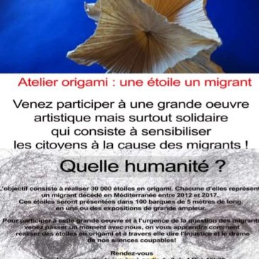 Atelier origami : une étoile un migrant – Tous les mercredis du mois de Mars